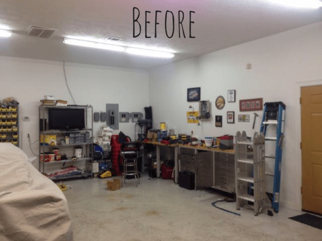 Julie Continues: U201cThe U0027worku0027 Garage Includes Black And White Race Deck  Flooring, The Omni Track Slatwall, As Well As A One 2 Post Vehicle Lift To  Raise The ...