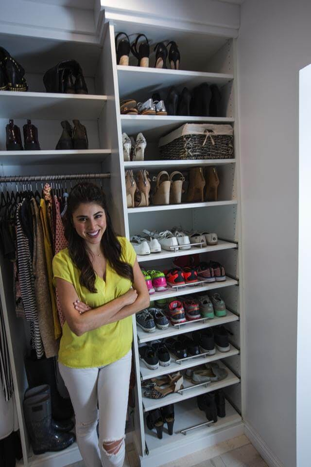 Daniella Monet proudly shows off her vegan shoe collection. Organizing for the new closet helped her get rid of any leather shoes and now her shoe collection is animal cruelty-free.