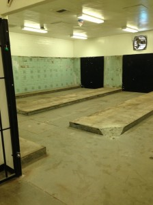 Locker room before remodel.