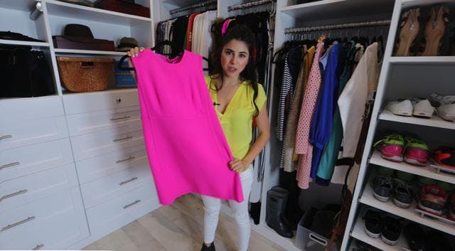 Actress Daniella Monet shows off the pink Prada dress she wore in the live-action Fairly OddParents movie.