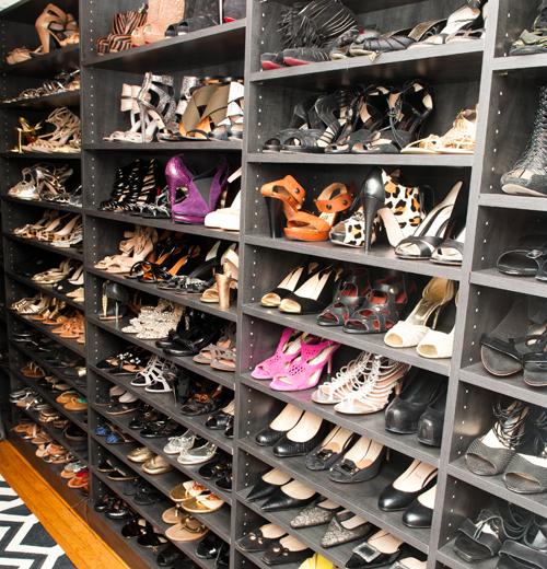 Custom designed shoe wall for Mary Alice Stephenson's large collection.