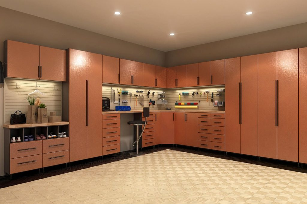 metal finish on storage cabinets