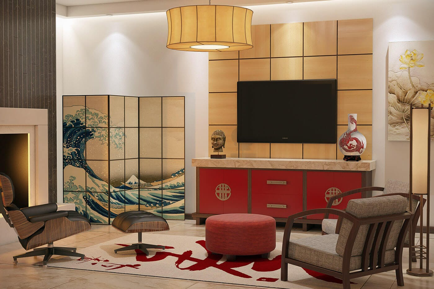 red asian style base cabinet with flaoted tv above. tanzu hardware, mixed wood frame and yellow gold marble counter top.