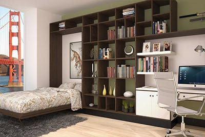 Wall unit has built-in wall bed system and shelving.