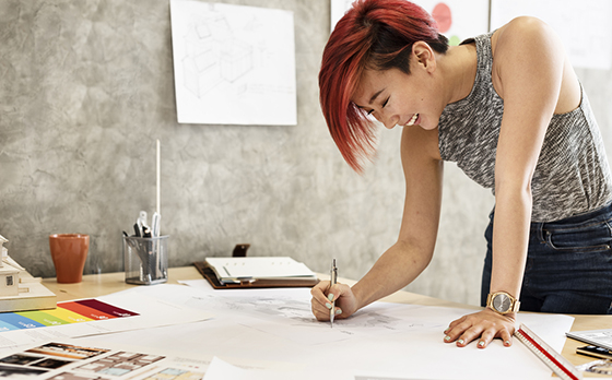 woman designer for home office