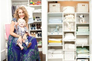 Sasha holds her son in front of her reachin closet