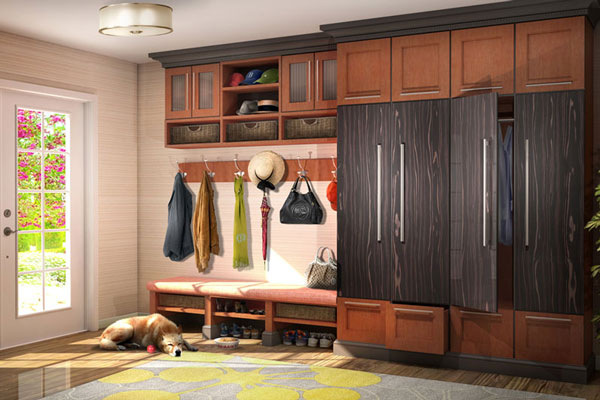 Atrractive mudroom bench in entry of upscale home.