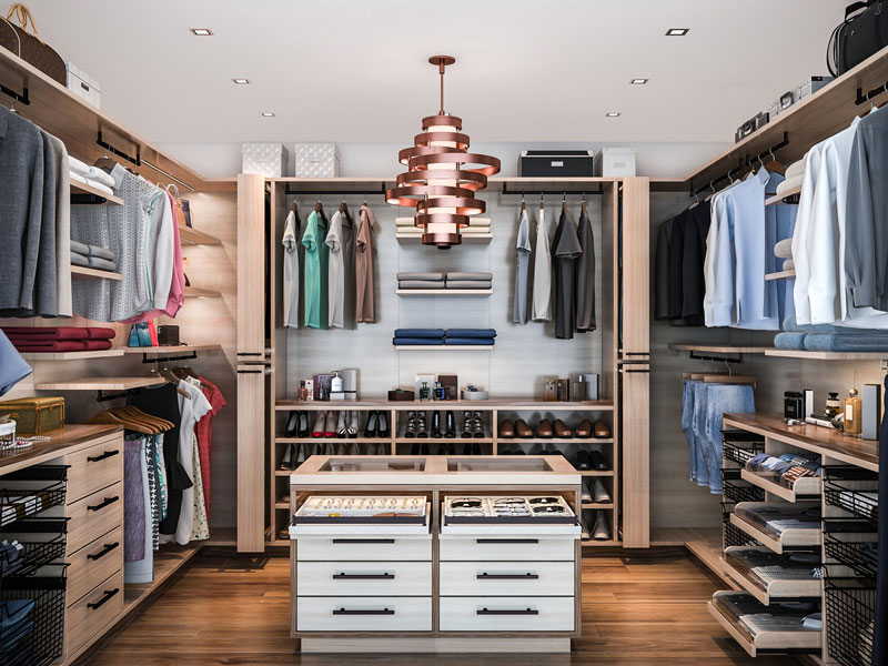 Custom walk-in closet the size of a bedroom with modern style floating closet system.