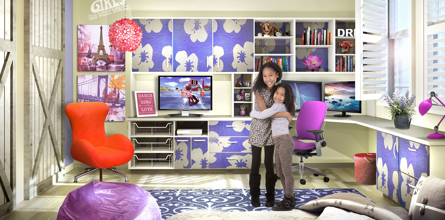 Cute tween bedroom with custom designed home office. hip formica pattern of flowers make up the cabinet doors.