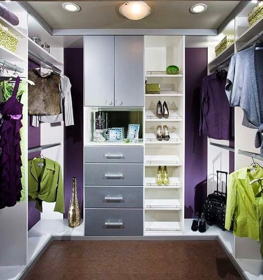 Custom Closets: Astoria White walk in with Br Aluminum Faces