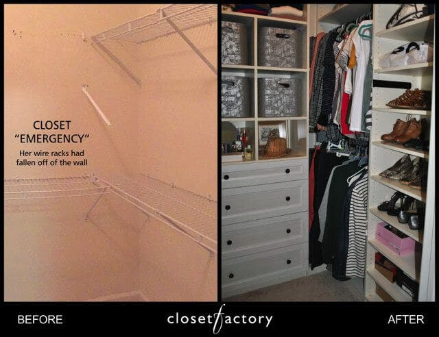 "For those who enjoy doing ""before-and after"" photos of their closets, the key to creating great ones is to show as much contrast between the two as possible."