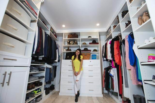 Actress Daniella Monet needed a custom closet to get her and her boyfriend's wardrobe in order.
