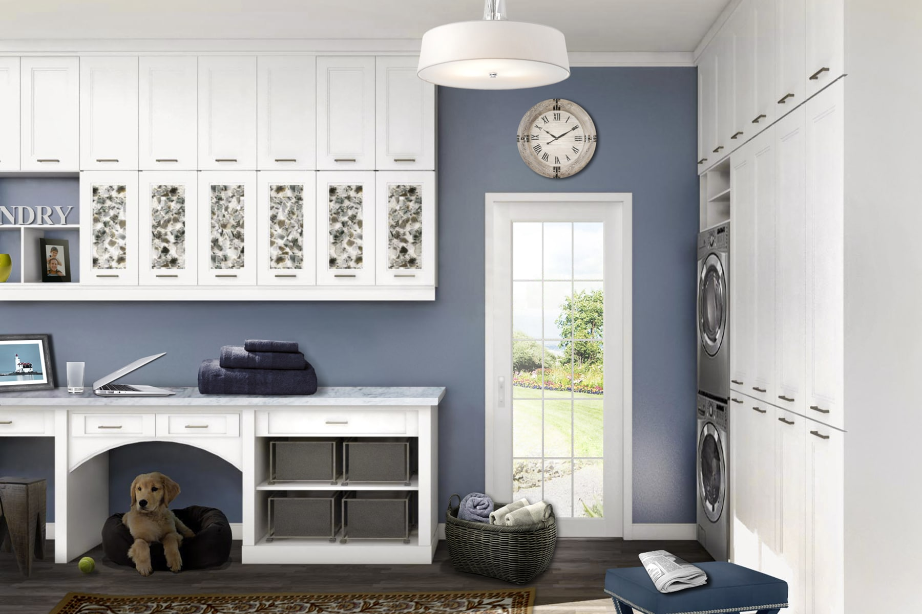 laundry room cabinets in white with pet nook