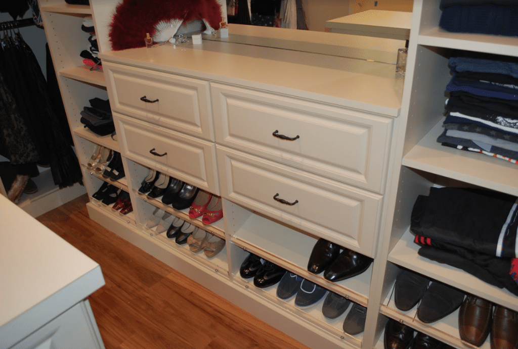 shelves section below drawers for shoes