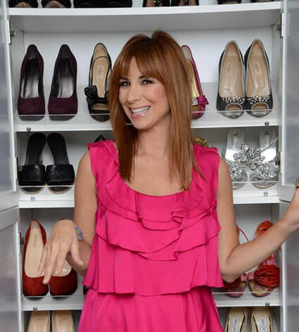 Reality Star Jill Zarin pictured in front of her shoe closet.