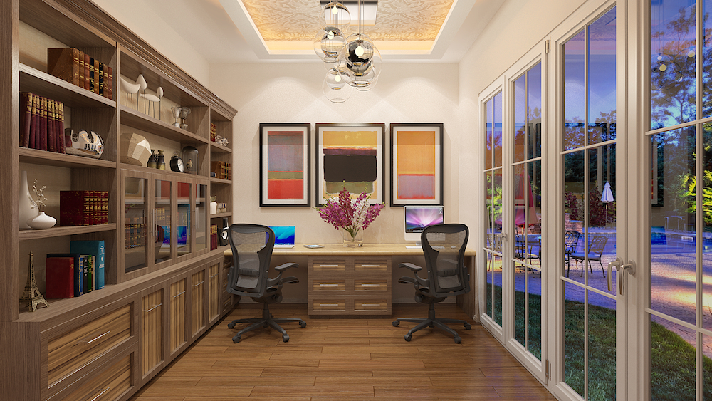 Encompassing Elements Of Both Contemporary And Traditional Design, A Custom  Office Adorning The Transitional Look Bridges These Two Styles To Create ...