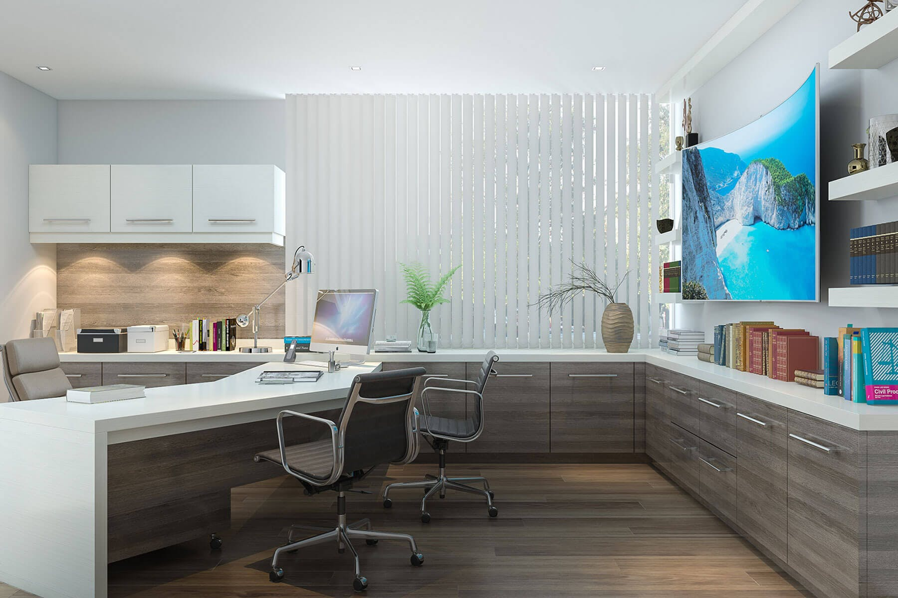 Trendy Modern Two Tone Desk And Flipper Upper Cabinets Built In Office ...