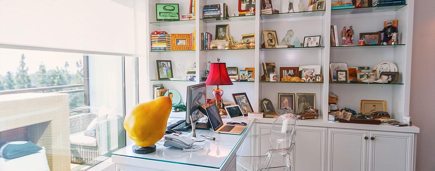 well staged bookshelves