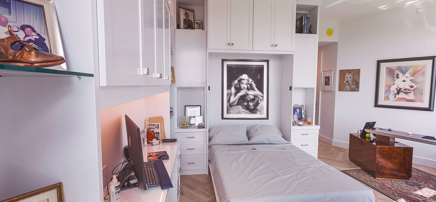 white wall bed cabinets and walls