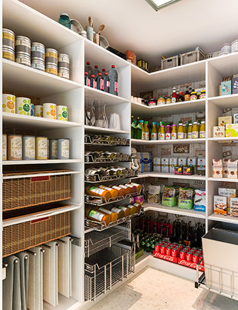 pantry with pull-out spice racks