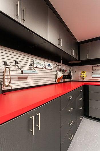 organized garage storage in black