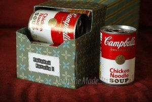 make your own can rack out of a box