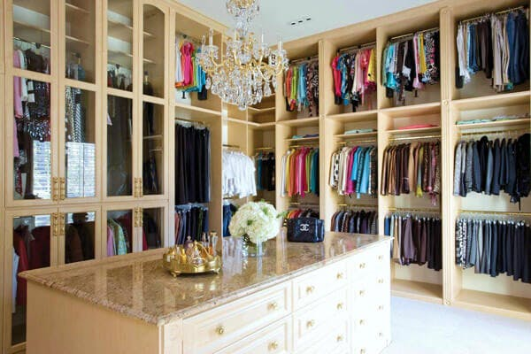 Walk-in Closet with Granite Topped Island