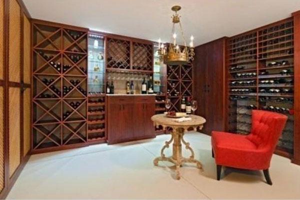 Wood Wine Storage And Tasting Room At Home
