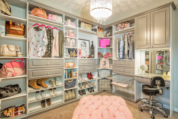 organized closet in grey and white