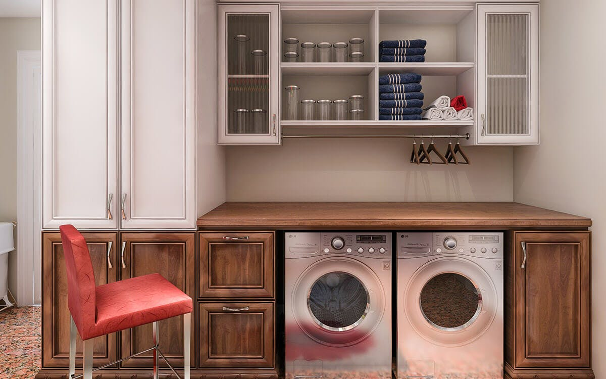 Laundry Room Builtin Wall Unit With Counter And Upper Cabinets ...