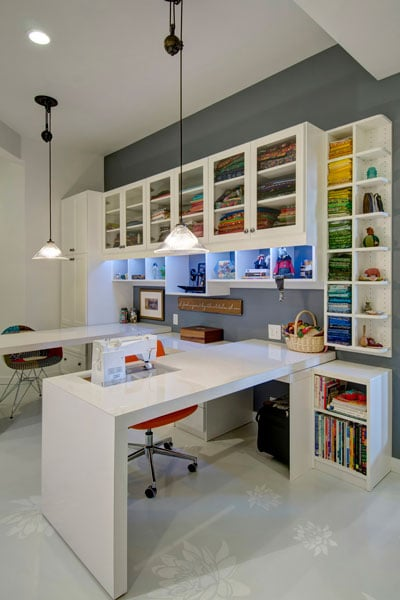 Charmant Upper Shelves Have Fabric Storage Sewing Room In Basement With Custom  Cabinets And Sewing Station. Upper Shelves Have Fabric Storage Craft  Rooms_14