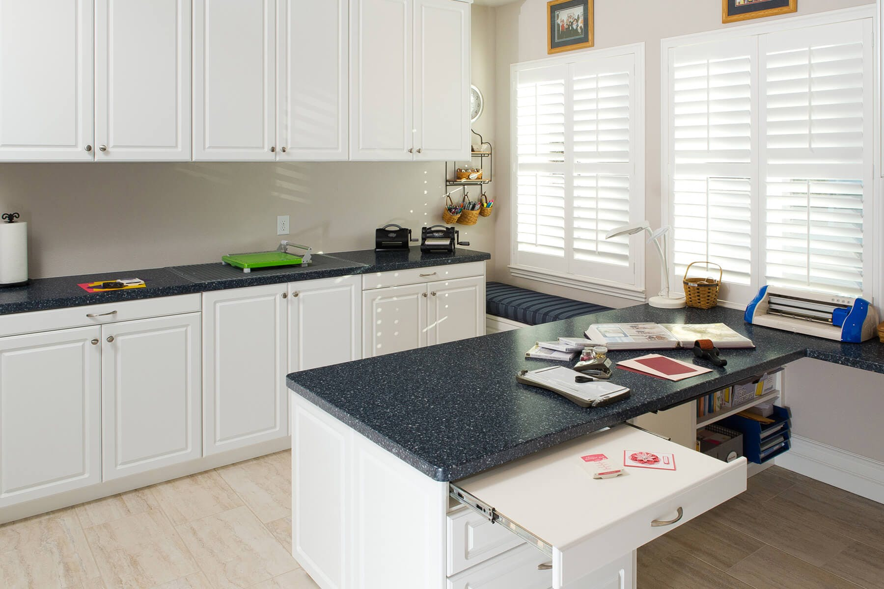 Pull Out Shelf In Custom Built Desk With Standing Height Base Cabinets And  Uppers Filled With ...