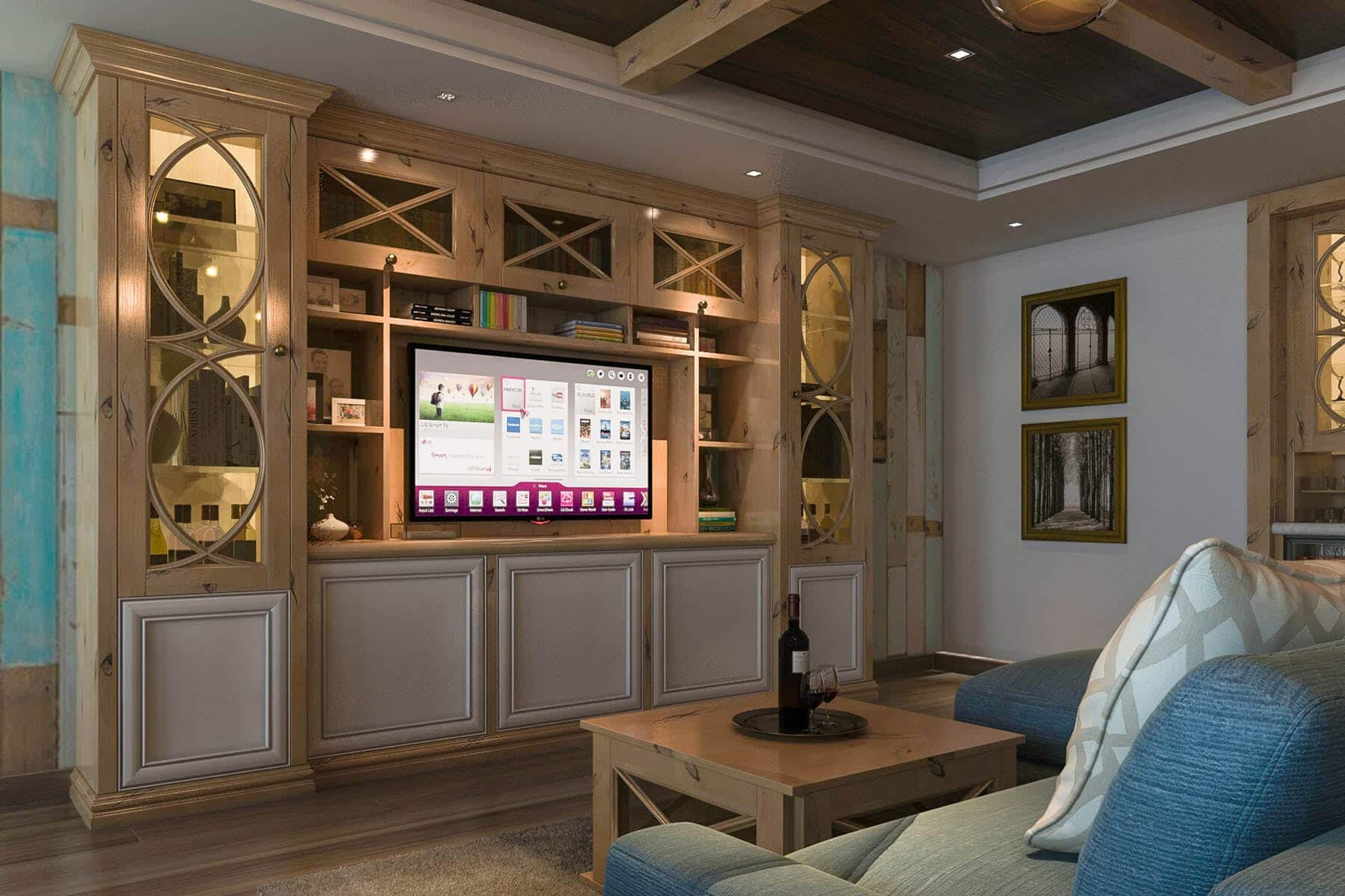 The Room Features A Rustic Style Wall Unit Design