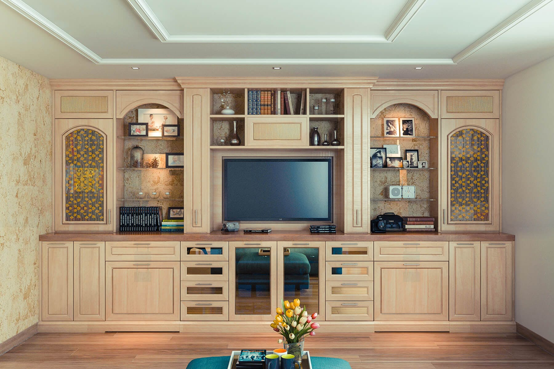 Hardrock Maple Entertainment Center And Wall Unit Conceals Two Pull Out  Desks, Cabinet Doors ...