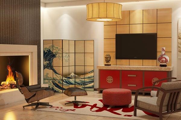Asian wall unit entertainment center