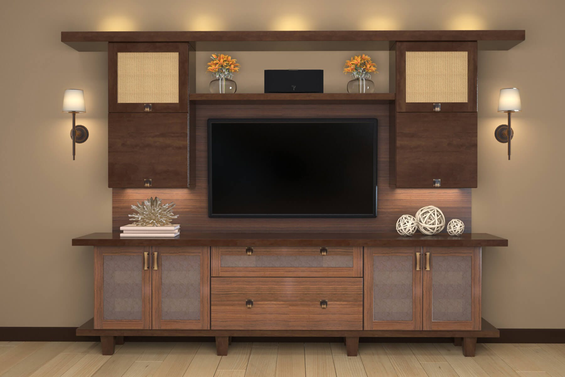 Entertainment Centers 69 Modern Tv Media Center In Stained Wood And Built To Be Freestanding A Living Room