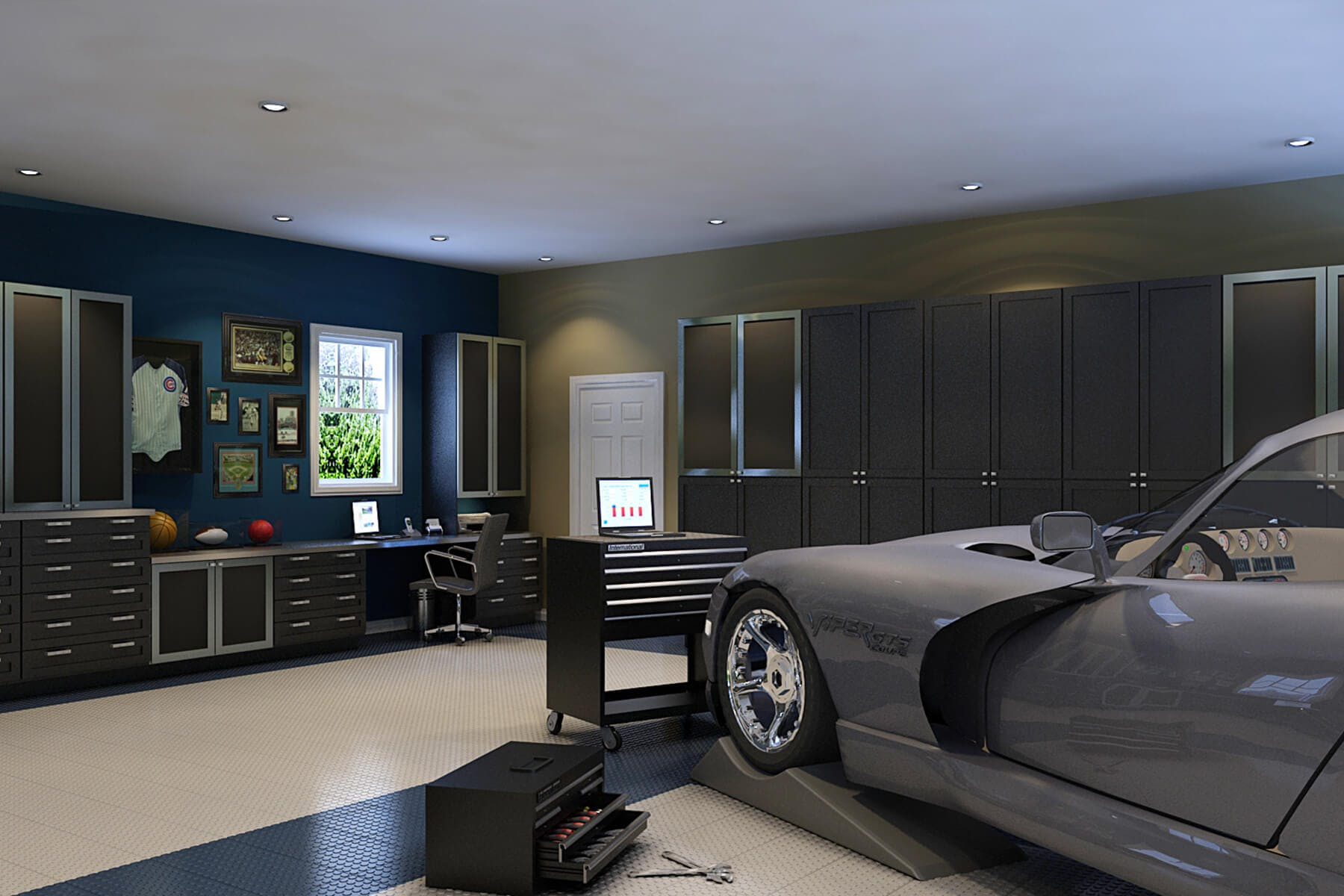 Garage storage cabinets design and install closet factory for Luxury garage designs