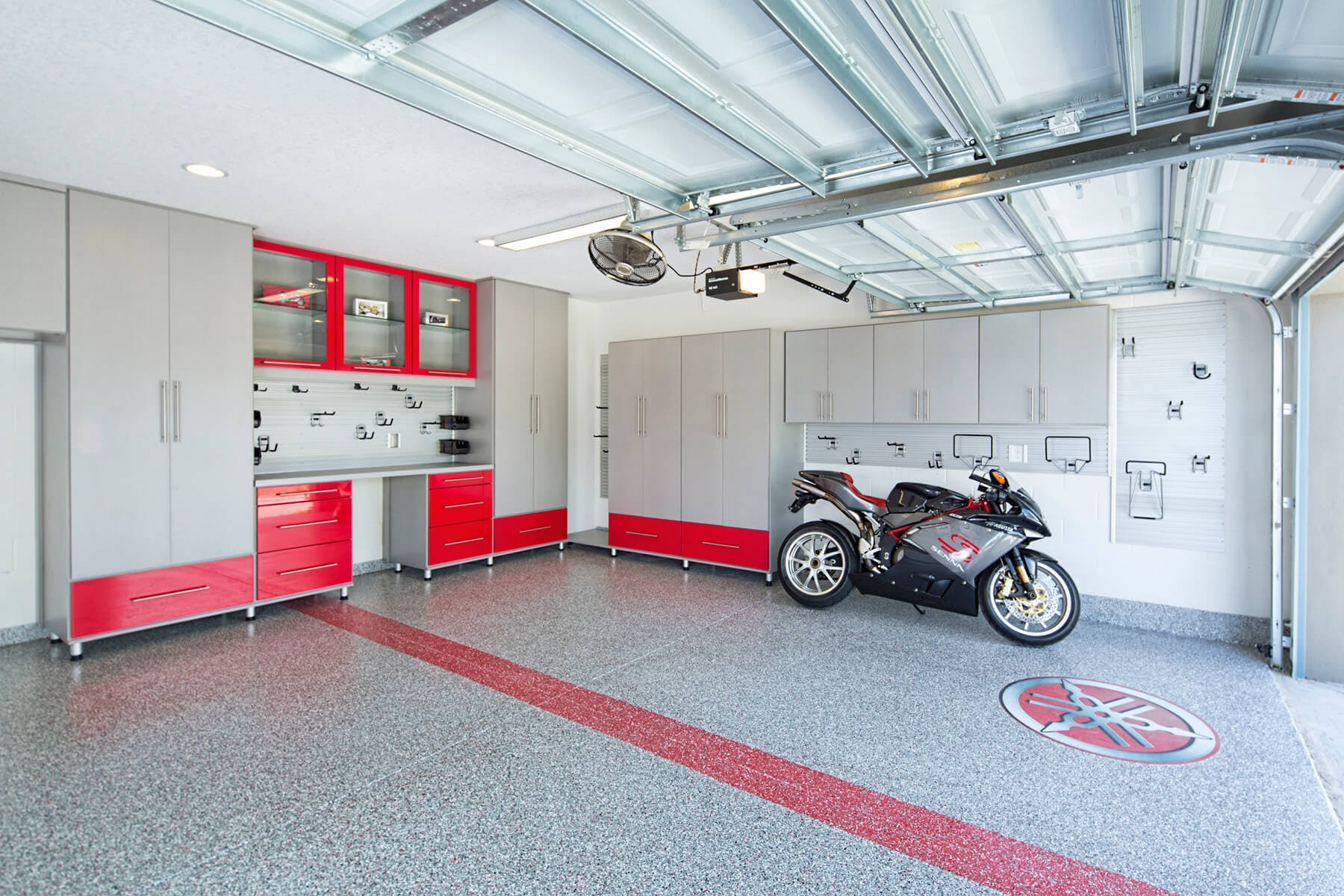 Garage Upper Cabinets Over Motorcycle