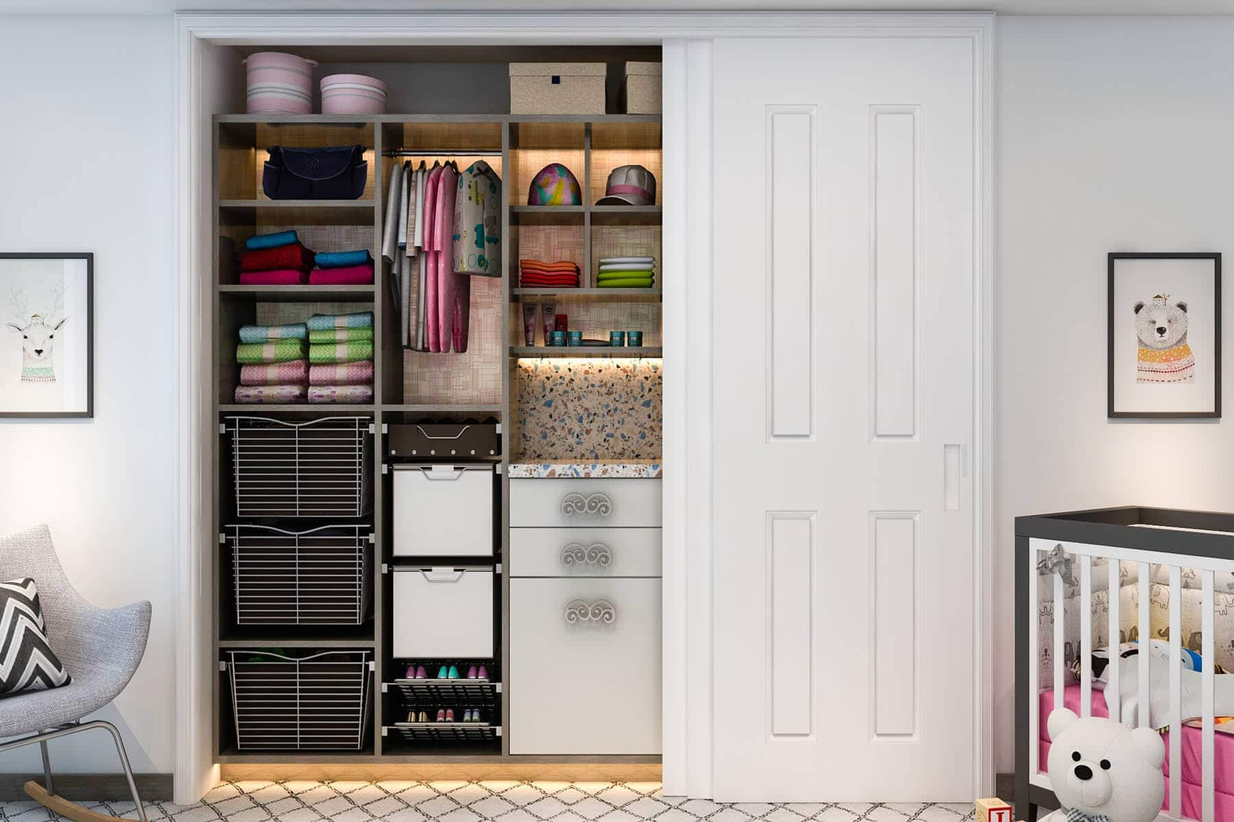 Adjustable Baby Closet With Built In Hampers And Counter ...