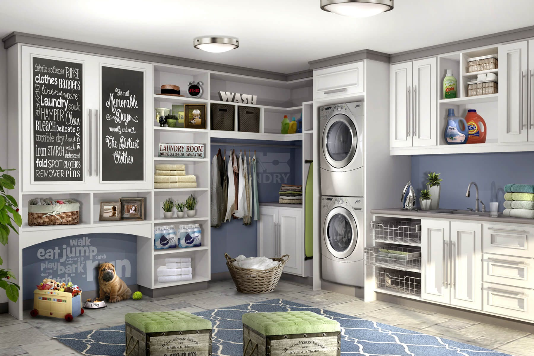 Adorable Laundry Room With Pet Nook Chalk Board And Counter Top