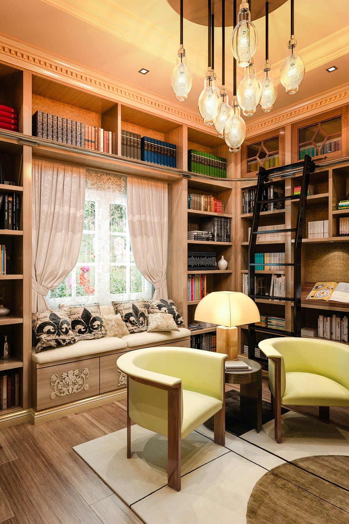 Home library cabinets custom designs closet factory for Custom home library design