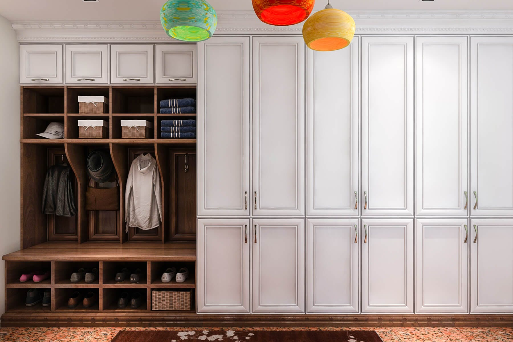 Combo Wood And Paint Mud Room