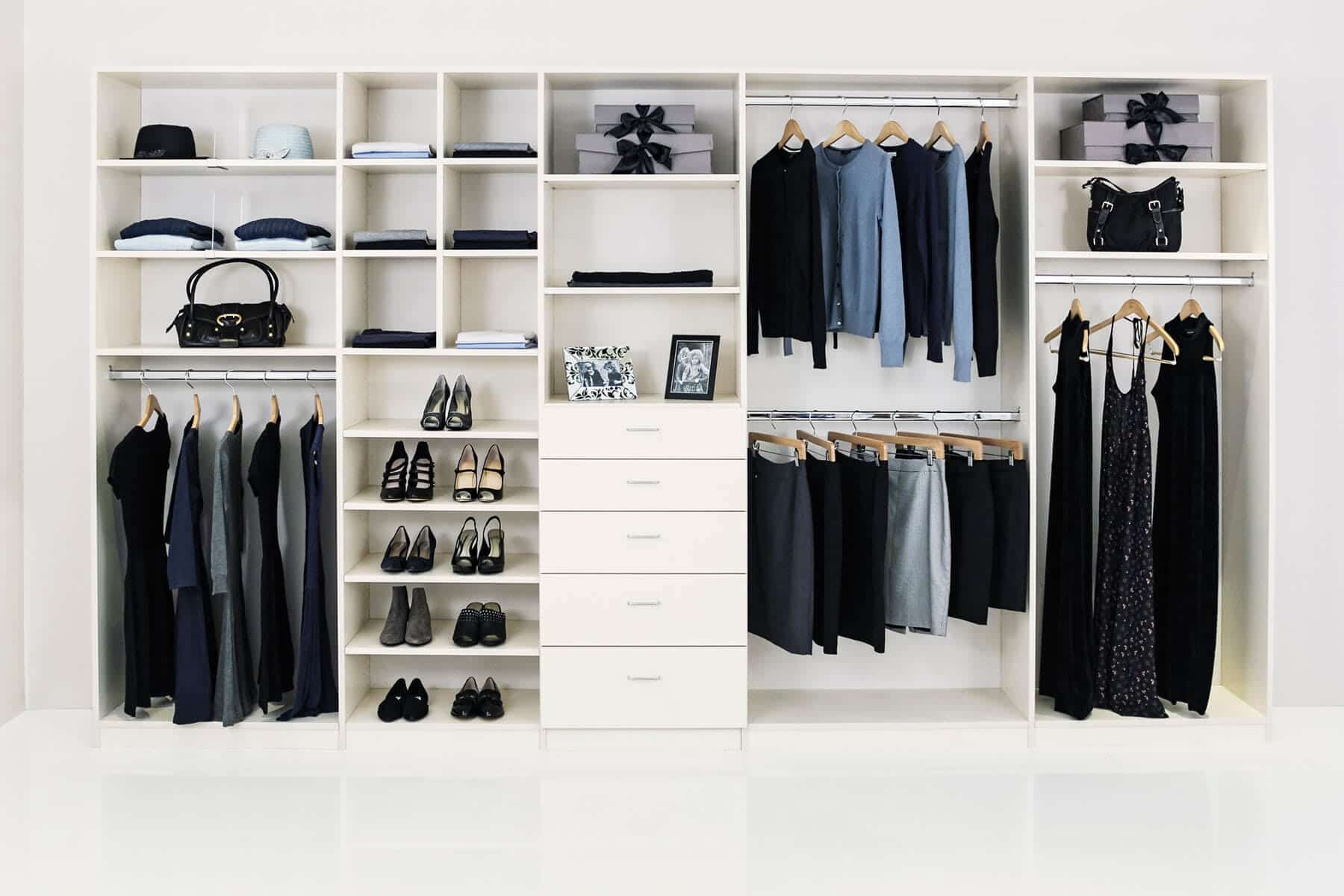 Soft White Reach In Closet With Drawers
