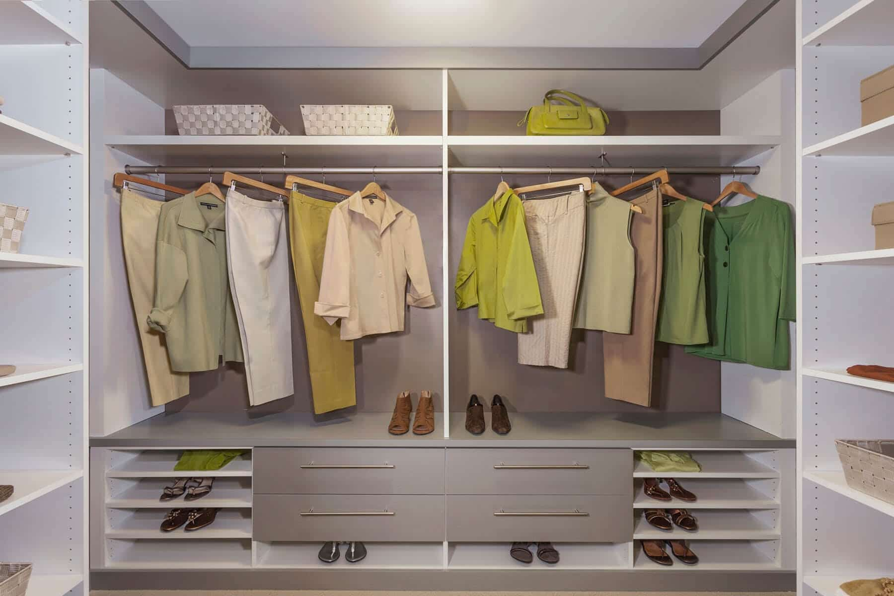 Contemporary Walk In Closet White And Grey ...