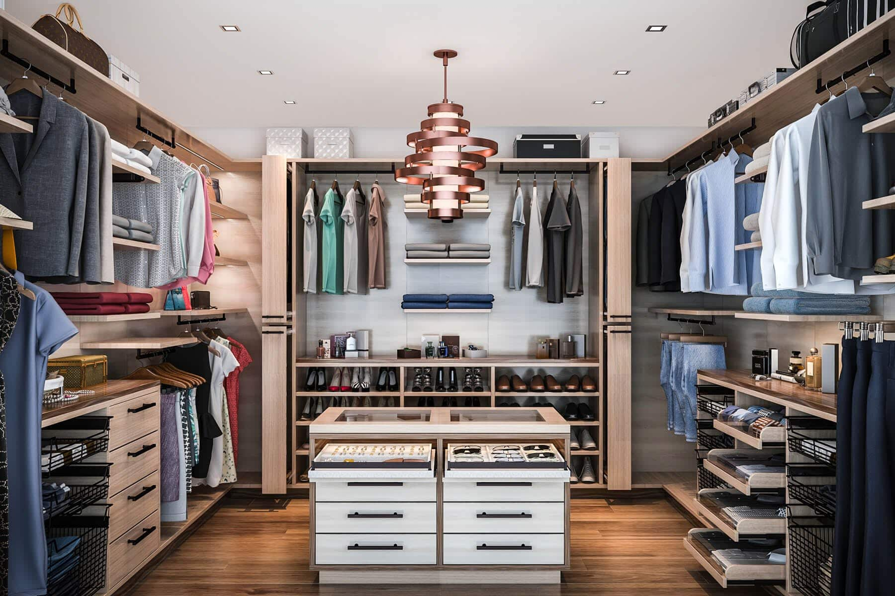Large Modern Walkin Closet With Island Walk Ins