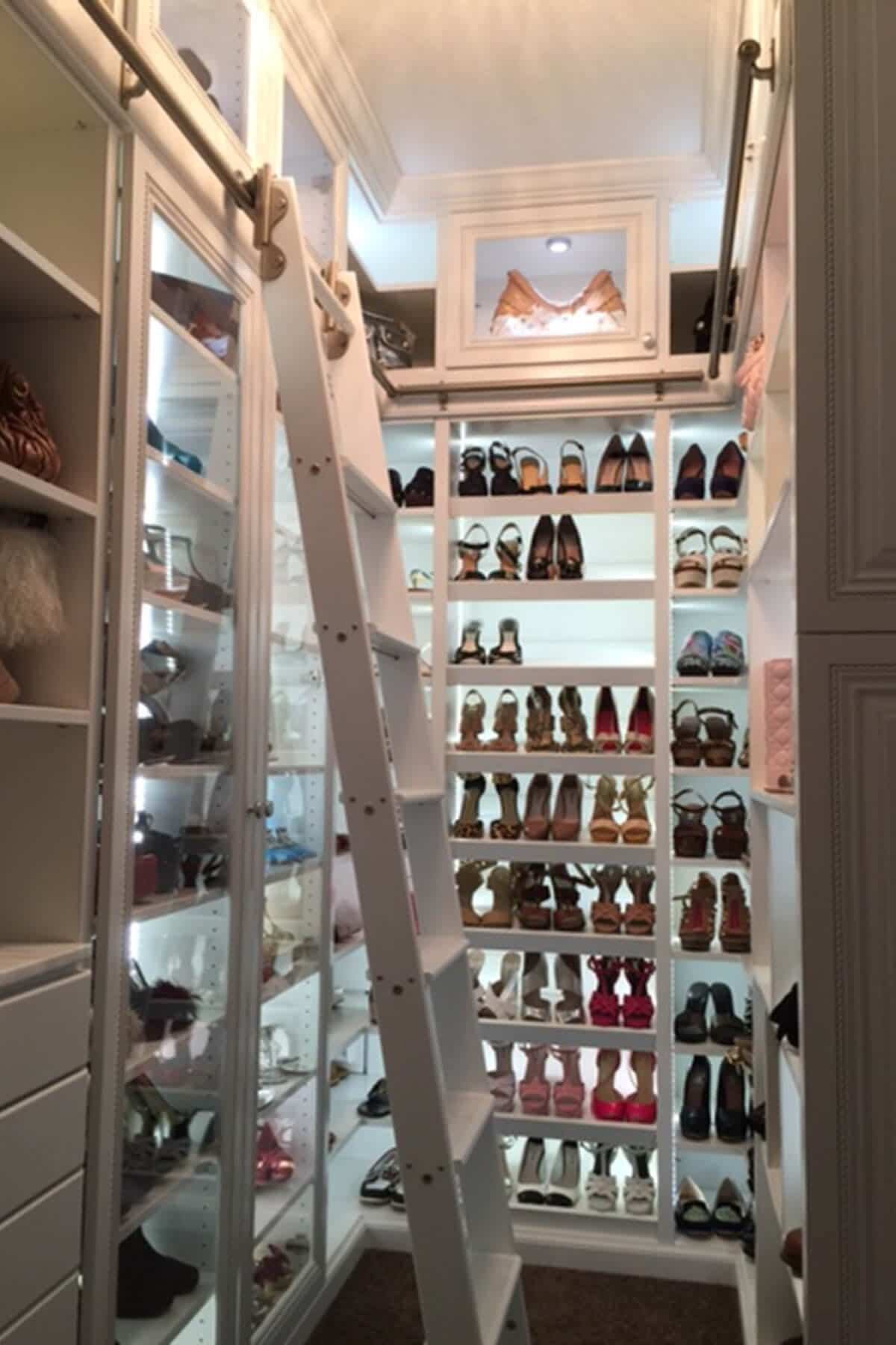 Tall Shoe Closet With Rolling Ladder