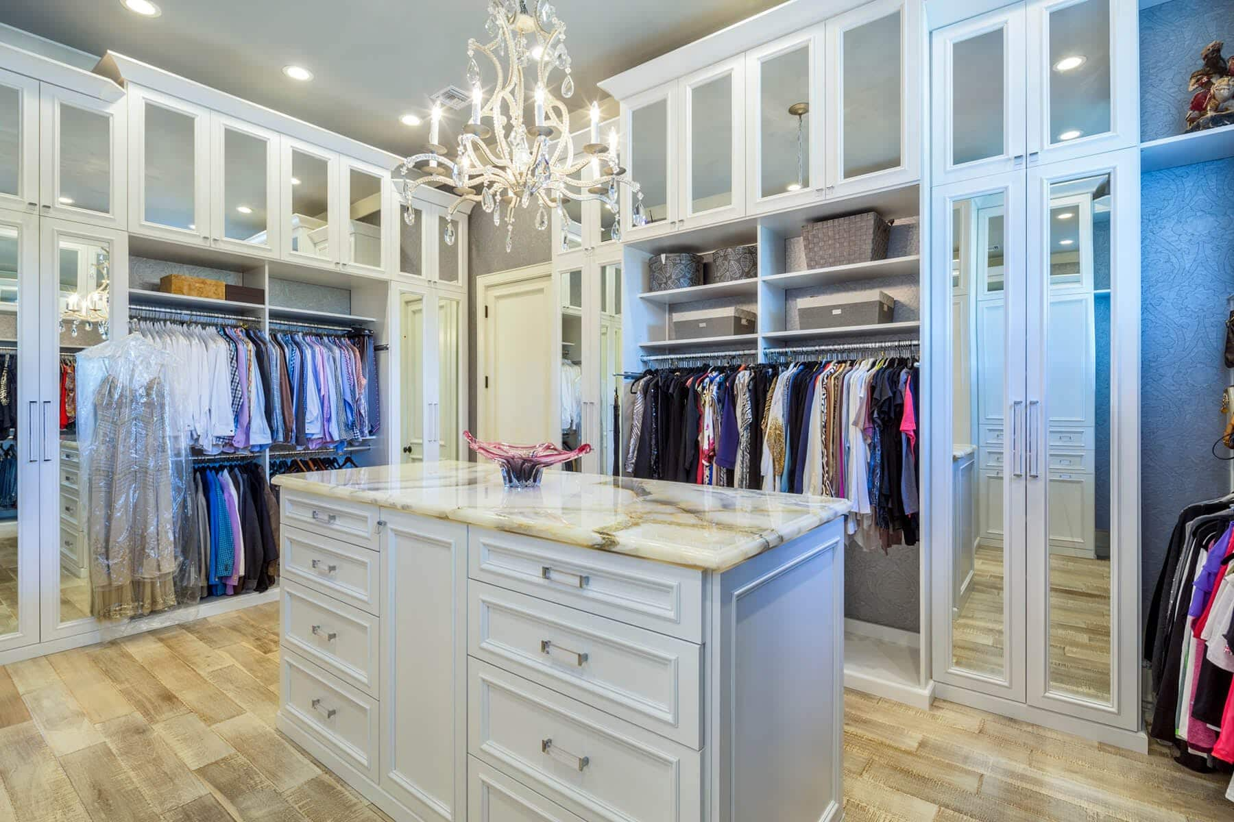 Painted Walk In Contemporary Closet With Island ...