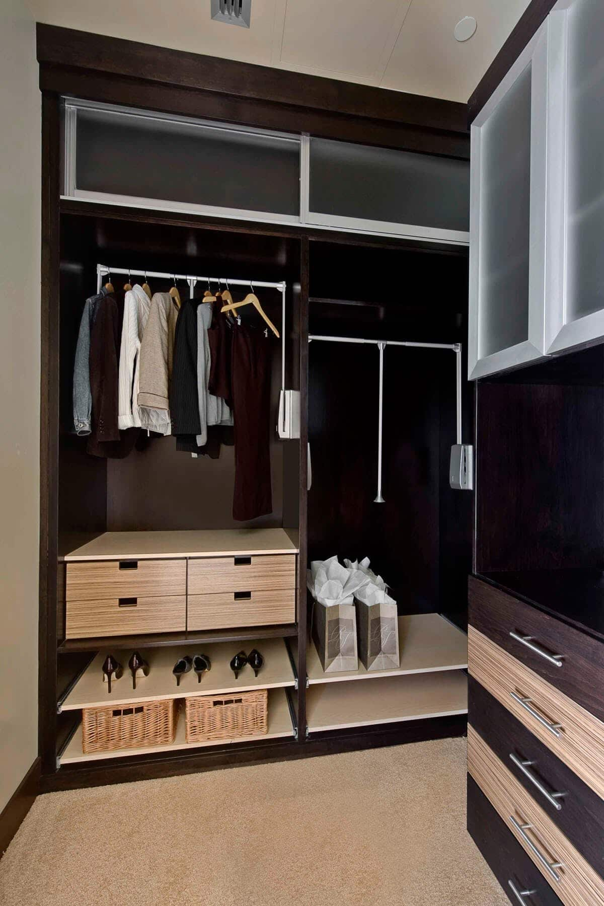Mixed Material Custom Closet With Drawers ...