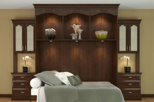 Espresso Melamine, One Of Our Most Popular Finishes, Is Used For This  Stunning Side Fold Wall Bed Unit. Overhead And Display Lighting Add Depth.