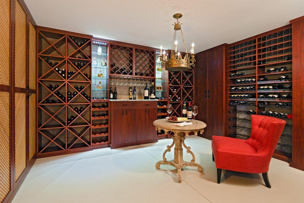 wood wine room with tasting table